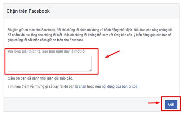 Gửi đơn khiếu nại đội ngũ Facebook
