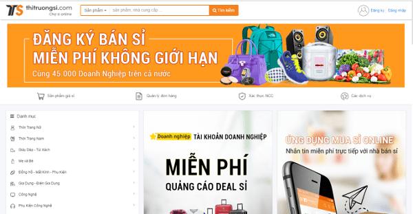 Giao diện website thị trường sỉ