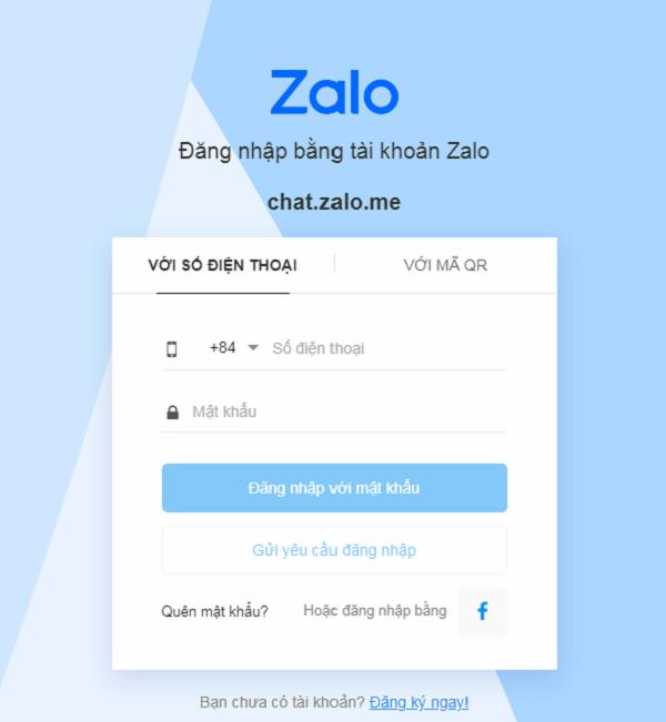 Giao diện đăng nhập Zalo PC bằng số điện thoại