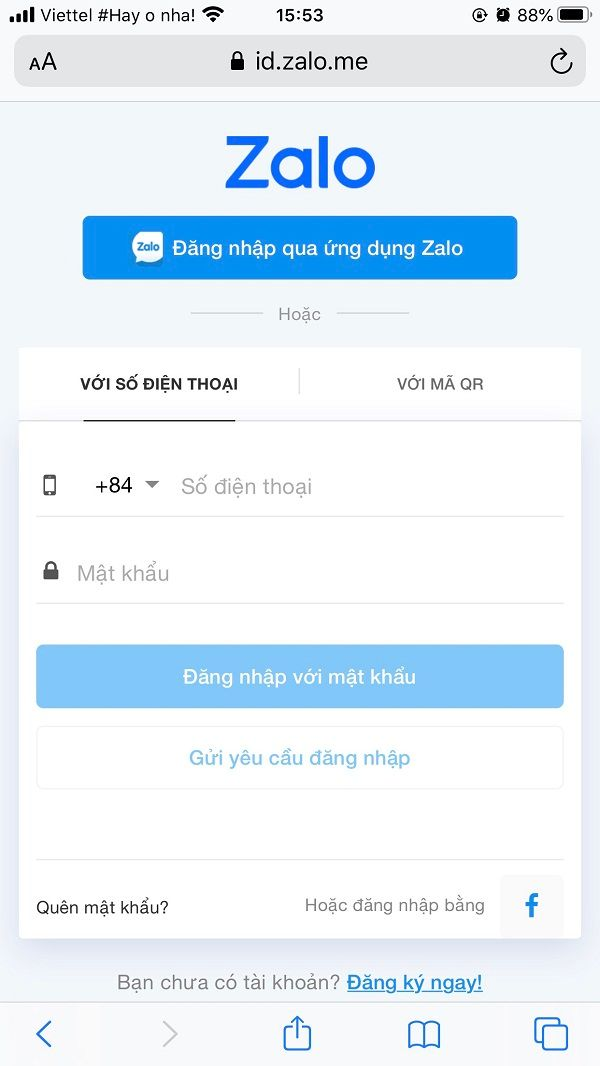 Đăng nhập chat Zalo online trên điện thoại