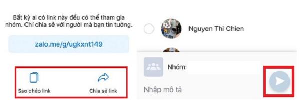 Nhấn vào sao chép link để chia sẻ