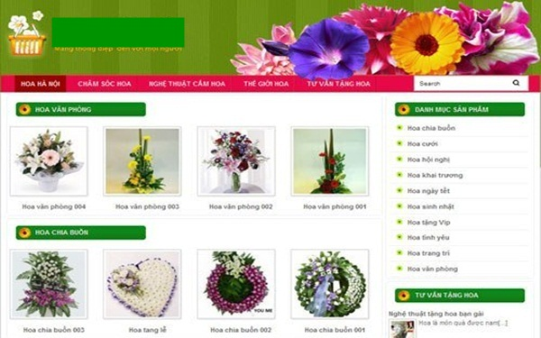 Website kinh doanh hoa tươi mẫu