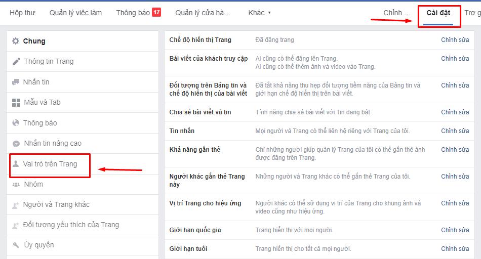Trình quản lý trang Facebook cho Laptop