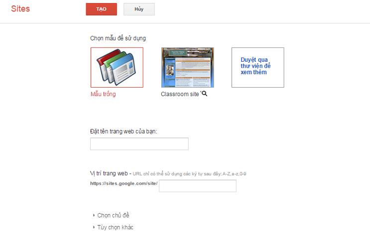 hướng dẫn tạo web bán hàng bằng google site