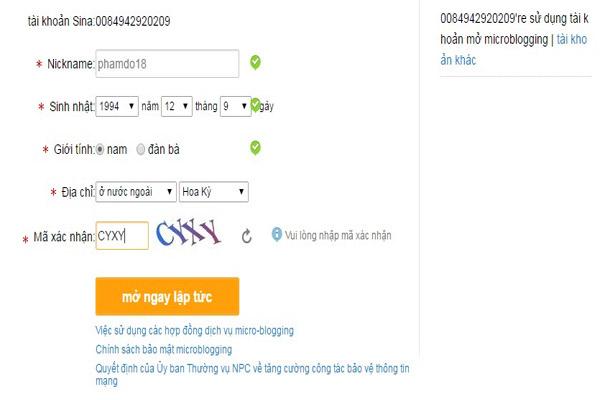 Cách đăng ký tạo tài khoản weibo