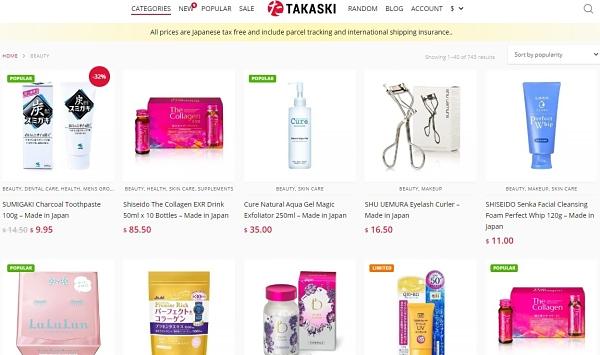 Trang web order mỹ phẩm Takaski của xứ sở hoa anh đào