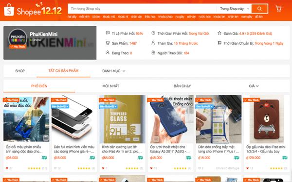 Phụ kiện điện thoại là một trong những sản phẩm bán chạy trên Shopee
