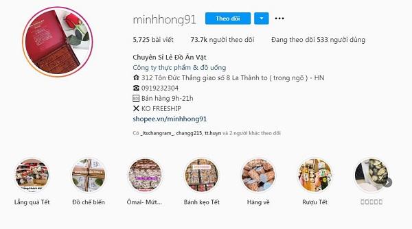 Trang bán hàng trên Instagram của Minhhong91