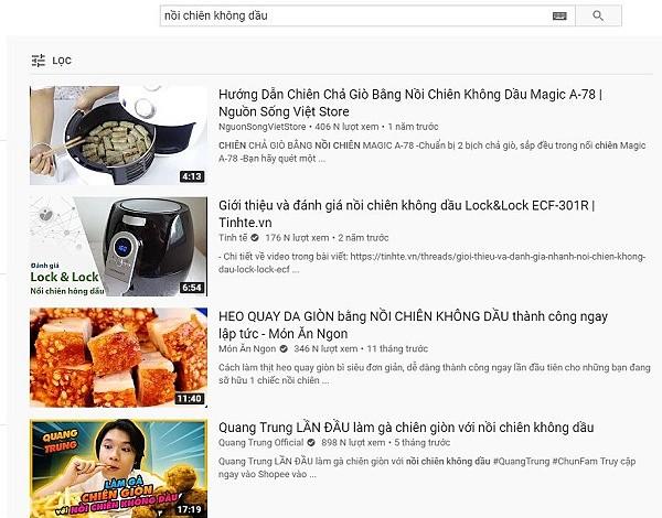 Youtube cũng trở thành kênh tham khảo nếu bạn muốn tìm kiếm sản phẩm hot trend