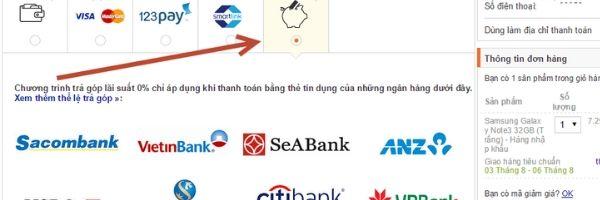 Thanh toán trả góp bằng thẻ tín dụng lãi suất 0%