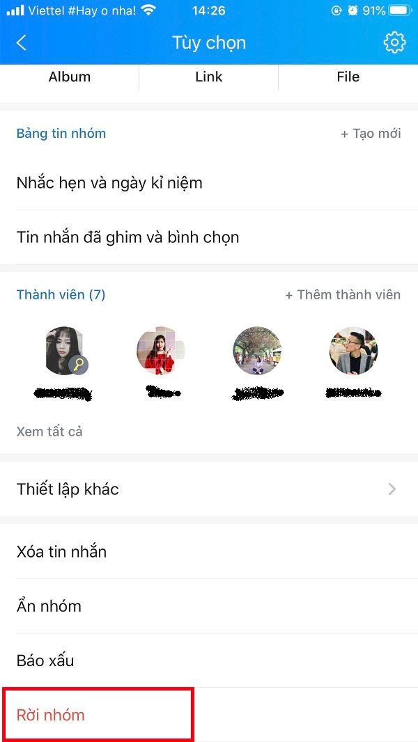 Xóa group chat Zalo chọn rời nhóm