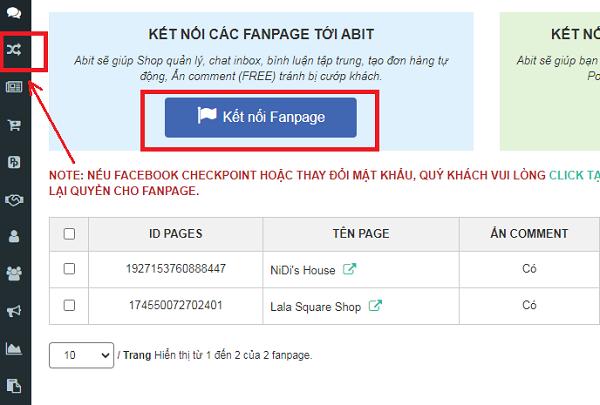 Kết nối Fanpage với Abit