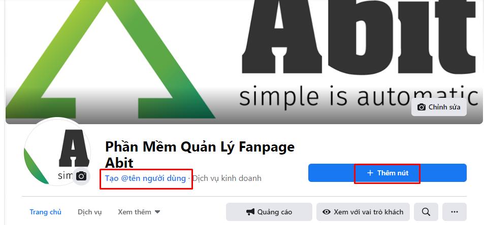 Tạo tên người dùng và thêm nút cho Fanpage