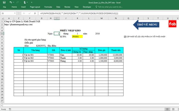 Quản lý kho hàng bằng Excel