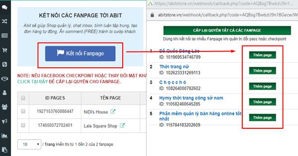 Thêm Fanpage trên phần mềm Abit