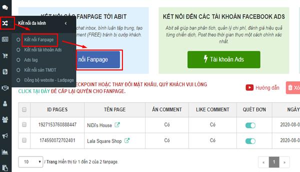 Kết nối Fanpage với phần mềm quản lý Abit