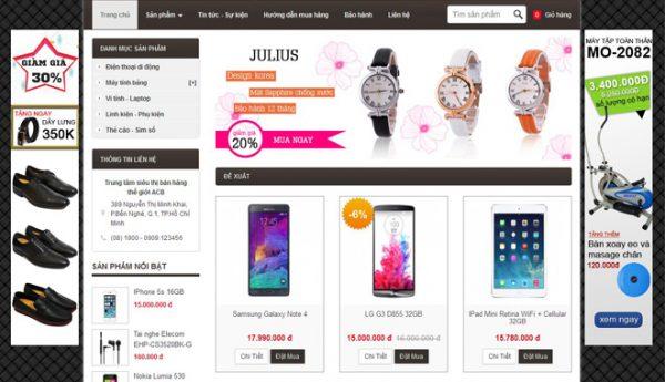 Một mẫu website bán hàng online có thiết kế đẹp