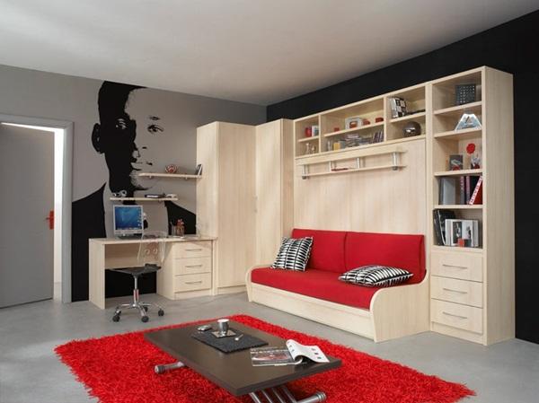 Giường ngủ kết hợp Sofa và tủ để đồ