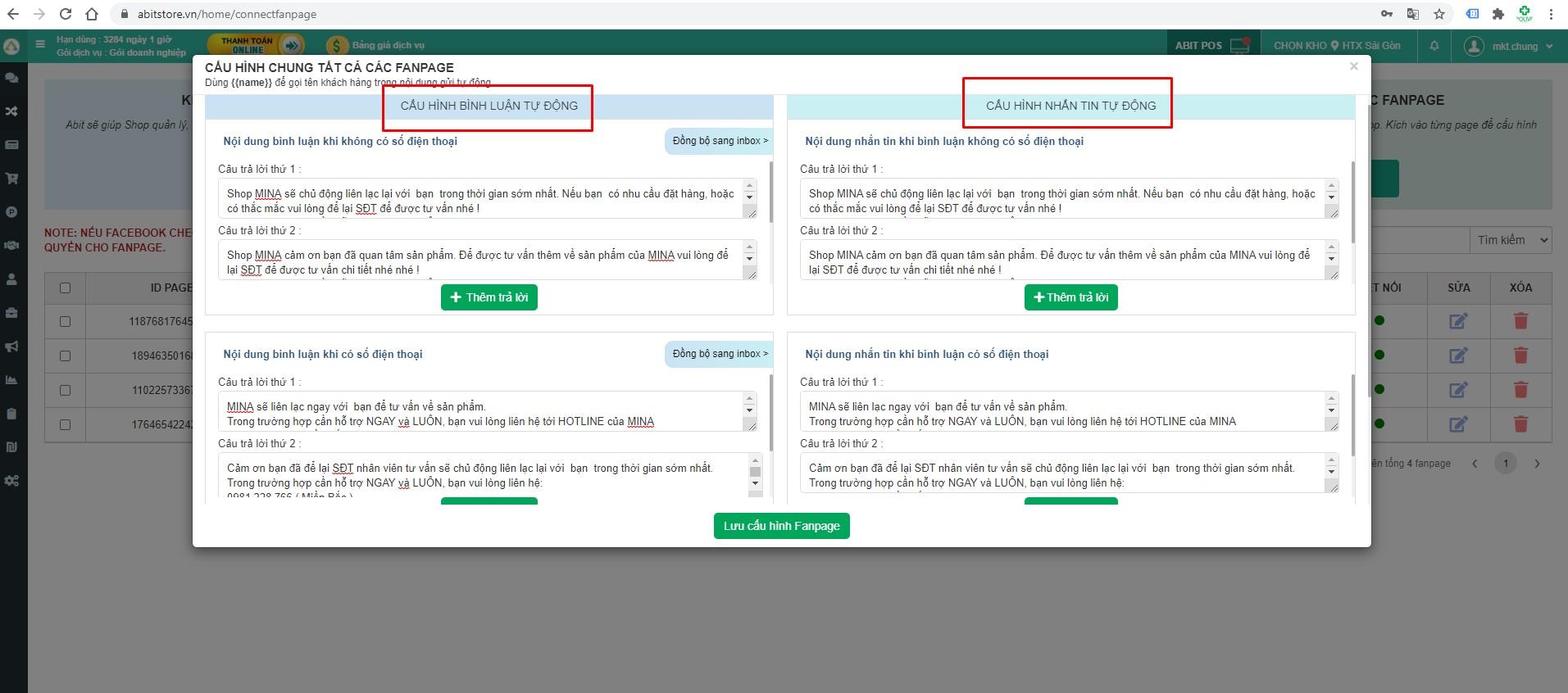 Phần mềm quản lý Fanpage - Tự động trả lời comment và inbox khách