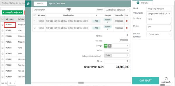 Cách sửa phiếu trên phần mềm quản lý bán hàng Abit