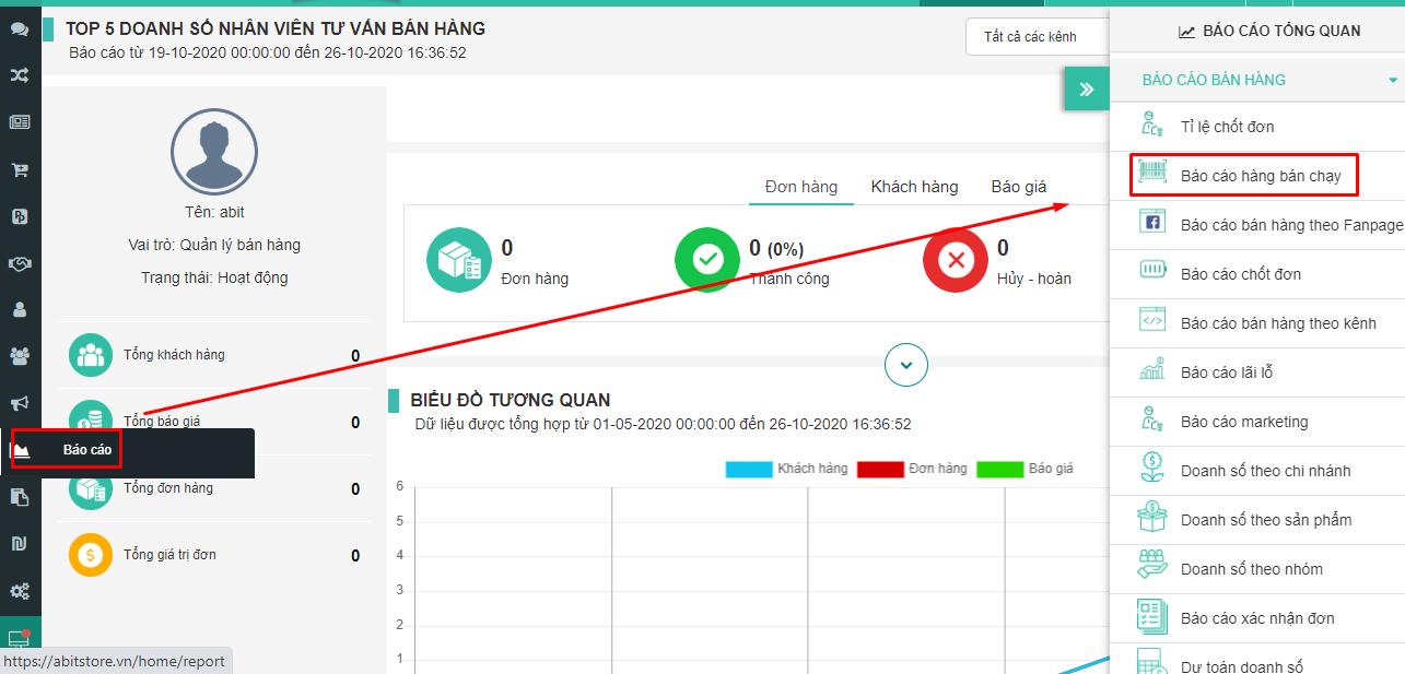 Báo cáo hàng bán chạy trên phần mềm quản lý bán hàng Abit