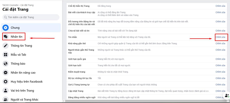 Các bước thiết lập tính năng inbox tự động