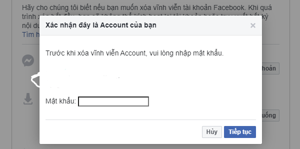 Nhập mật khẩu để xác nhận quyền sở hữu với tài khoản