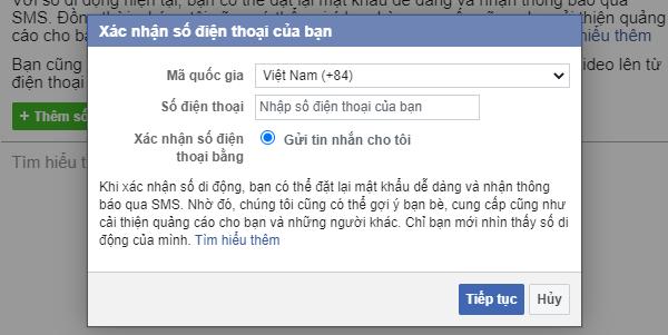 Cách xác minh tài khoản Facebook bằng số điện thoại