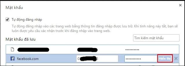 Chọn hiển thị mật khẩu Facebook