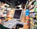 supermarket or grocery store checkout payment terminal
