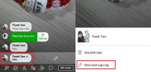 Cách ghim bình luận trên livestream