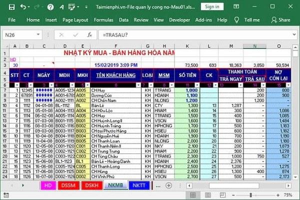 Mẫu báo cáo bán hàng bằng Excel
