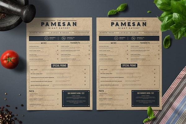 Thiết kế menu cafe dạng 1 tờ bìa