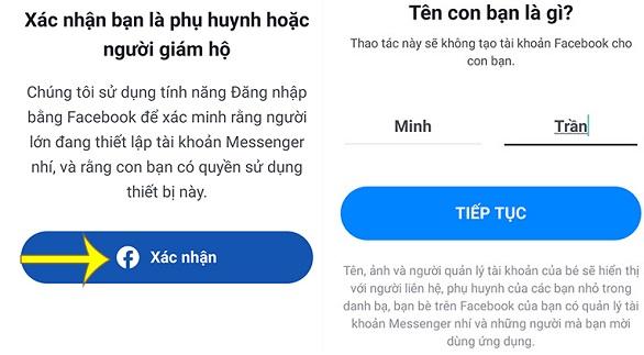 Cách tạo tài khoản Messenger nhí